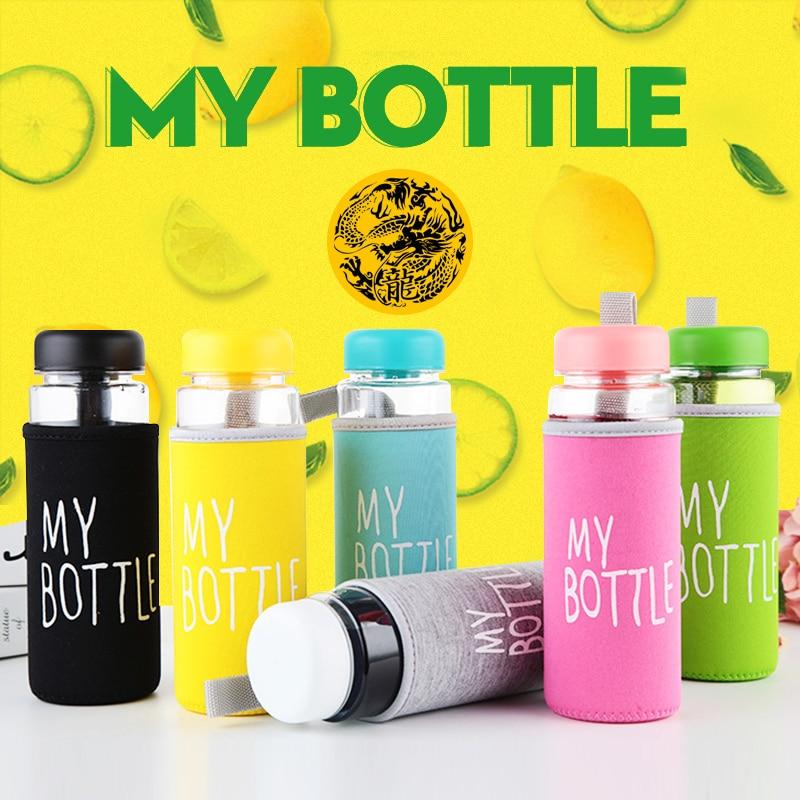 Пластиковая бутылка My bottle 500 мл, бутылка для воды для питья ПК, прозрачная или матовая, Спортивная, корейский стиль, термостойкая, герметична...