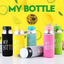 Garrafa de água de plástico 500ml, garrafa para beber pc transparente ou fosco, estilo coreano, resistente ao calor
