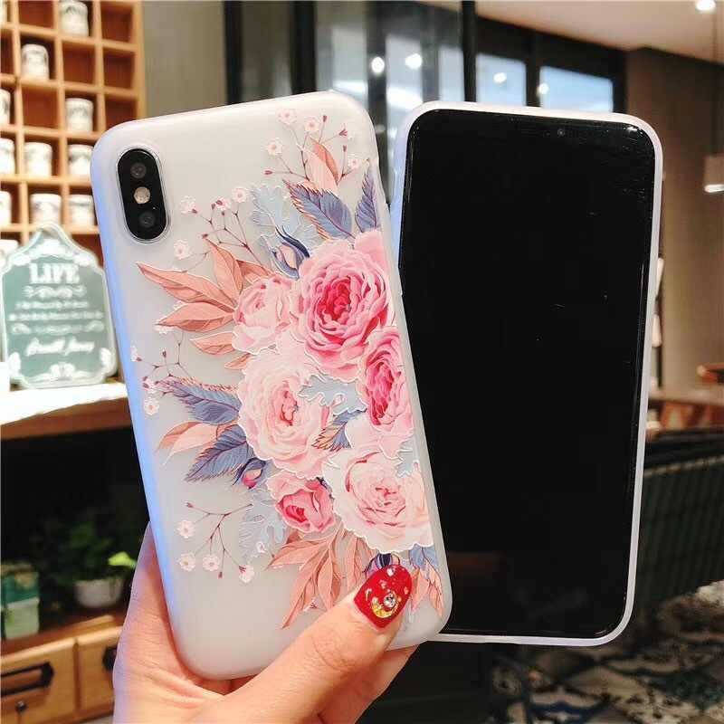 زهرة سيليكون الهاتف حقيبة لهاتف أي فون Xs ماكس 6.5 روز الزهور يترك خزائن هاتف آيفون Xr 5 S SE X 8 7 6 6 S زائد جديد لينة غطاء من البولي يوريثان الحراري