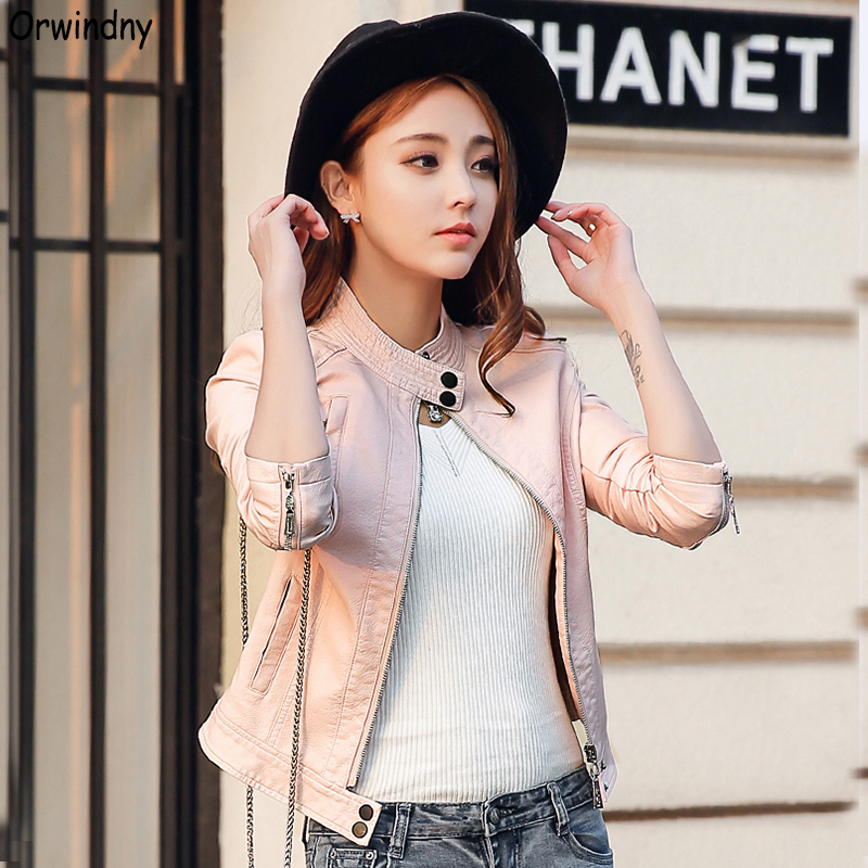 Orwindny 2019 Cute Pink Leather Clothing For Girls O-Neck Female Leather Jacket Spring Casual Coat Long Sleeve Suede Women