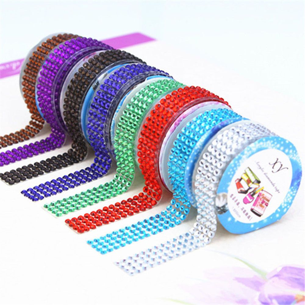 1.8*50CM Bling Self-Adhesive DIY Tape Acrylic Rhinestones Stick On Scrapbooking Decor Sticker Tape Nice Gift