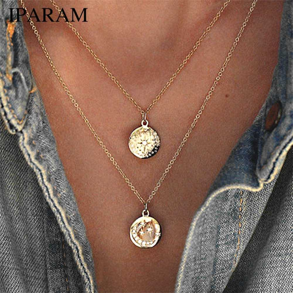 IPARAM Модные Новые Блестящие кристаллы Луна и звезда кулон Многослойные женские ожерелье бижутерия в богемном стиле аксессуары