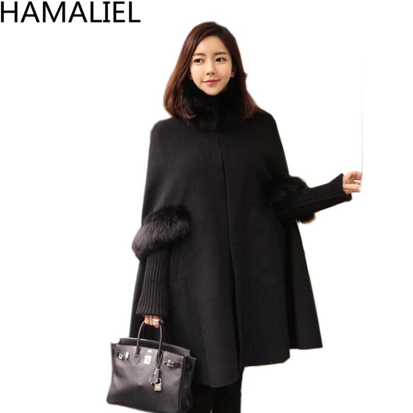 HAMALIEL, женский черный плащ с меховым воротником, шерстяное пальто,, зимнее кашемировое шерстяное пальто с длинным рукавом, повседневное пончо, теплое, плюс размер, накидка, пальто - Цвет: Черный