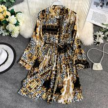 long sleeve stand collar waist tie print dress