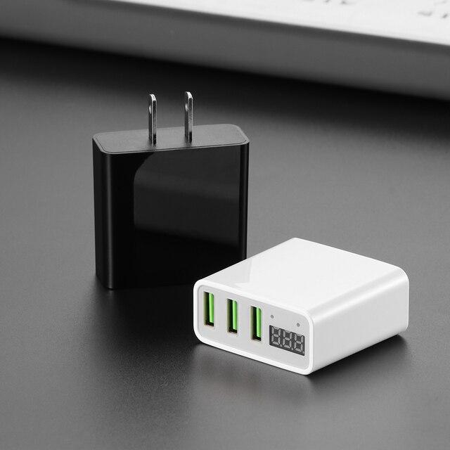 Powstro אוניברסלי 5 V 3A 3 USB smartphone מטען הנוכחי מתח תצוגת מטענים עבור iPhone סמסונג Xiaomi Huawei טלפון נייד