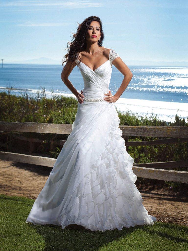 Dv270 beaded off the shoulder cap sleeves ruffles white for White destination wedding dresses