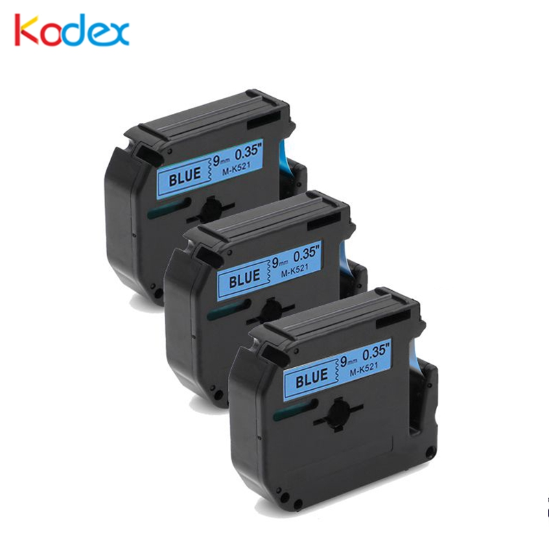 Kodex 3pcs M tape 521 compatible Brother P-touch label tape 9mm M-K521 black on blue for Brother P Touch Label Maker