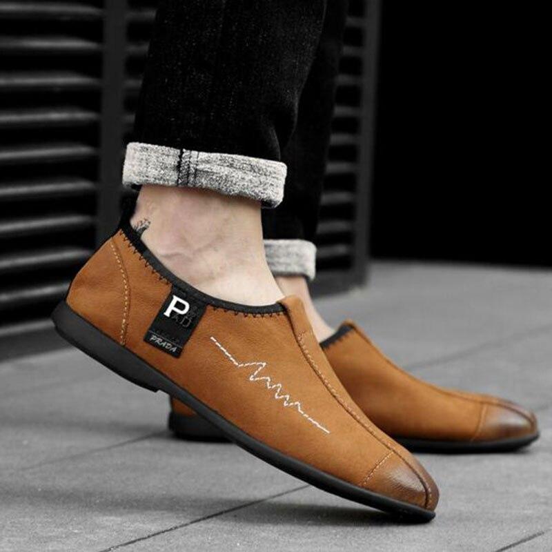 on Appartements 38 Black Style 44 Slip Mocassins En brown Cuir Respirant ChaussuresCaoutchouc Taille Angleterre Souple Unique Buttom Chaussures Hommes Non slip Véritable qAjRL354