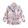 2016 New Spring Cute Baby Girl Coat jacket Print Cartoon Graffiti Hooded Zipper Girls Windbreaker children jackets kids clothing