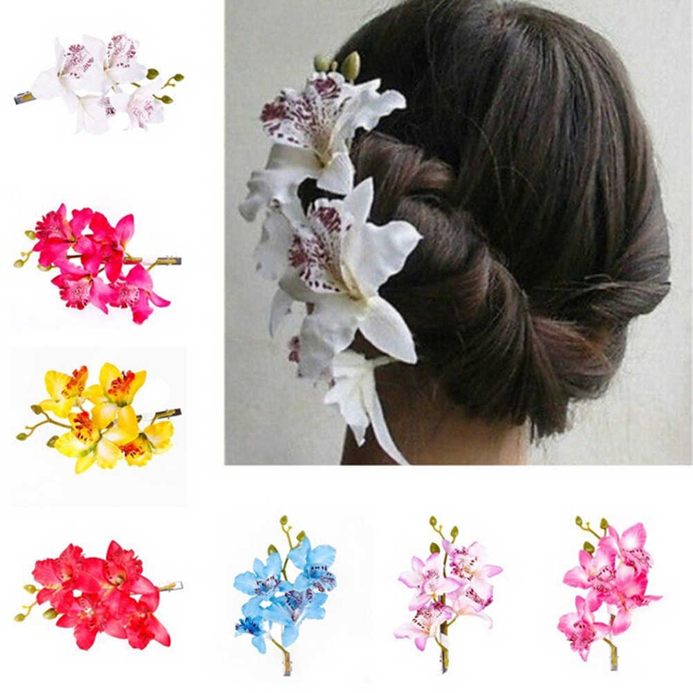 New Flower Pattern Ladies Hair Clip Hairpin  Bridal Hawaii Party Hair Accessories  8 Colors Headwear