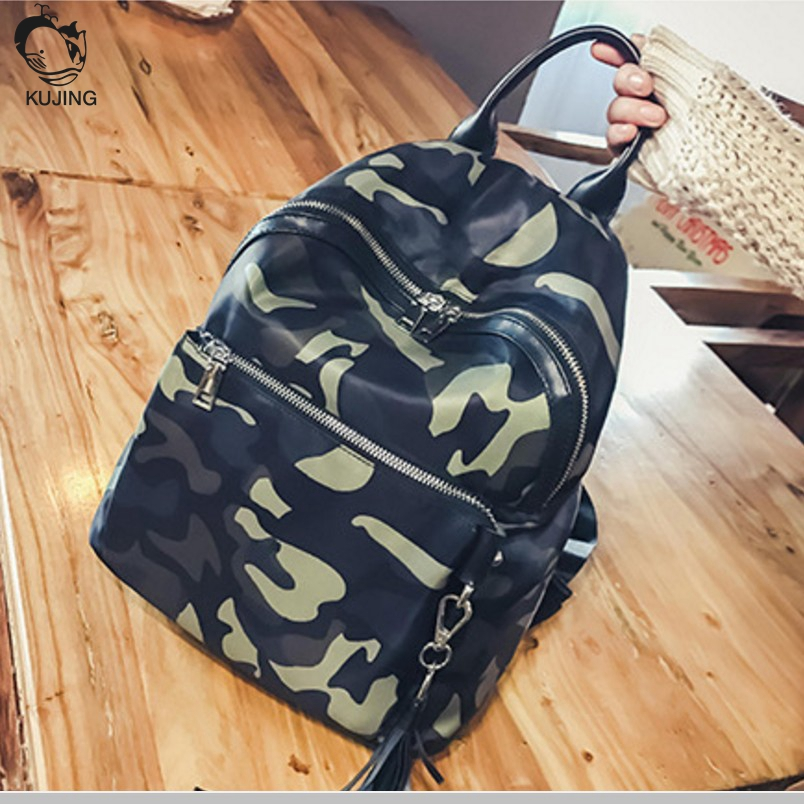 KUJING Brand Backpack Quality Fashion Camouflage Tassel Student Bag Free Shipping Cheap Travel Shopping Leisure Women Backpack 2017 new casual hot attractive elegant women ice cream drawstring beam port backpack shopping bag travel bag free shipping jan 5