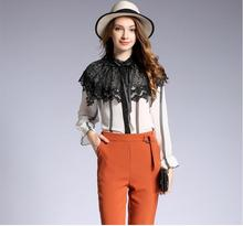 Women Chiffon Blouse Fashion Long Flare Sleeve Stand Collar Lace Patchwork Shirts Office Lady Tops stylish lace up stand collar blouse