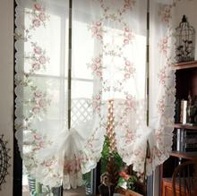 Pastoral Tulle Window Roman Curtain Embroidered Sheer For Kitchen Living Room Bedroom Screening 1PCS