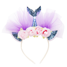1pcs Glitter Sequin Mermaid Headband Headwear Kids Girl Hair Accessory For Hawaii Beach Baby Shower Christmas Supply