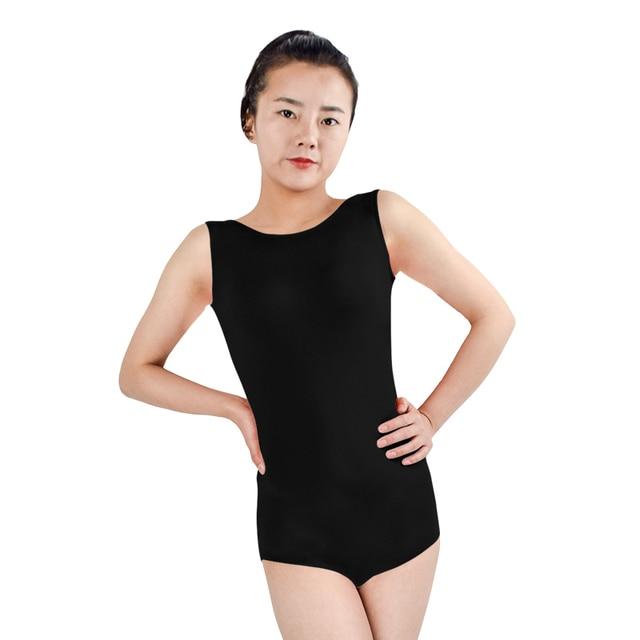 Ensnovo Women Gymnastics Ballet Leotards Lycra Sleeveless Tight Girl Leotard  Costumes Lycra Nylon Spandex Dancewear Black 7fecf82c11e6