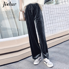 Jielur New Autumn Drawstring Women Pants Korean Winter Solid Color Baggy Wide Leg Pants Harajuku Velvet Trousers XS-XXL Dropship new print women golf pants lady long trousers with fleece autumn sports pants for korean style slim elastic pants xs xxl winter