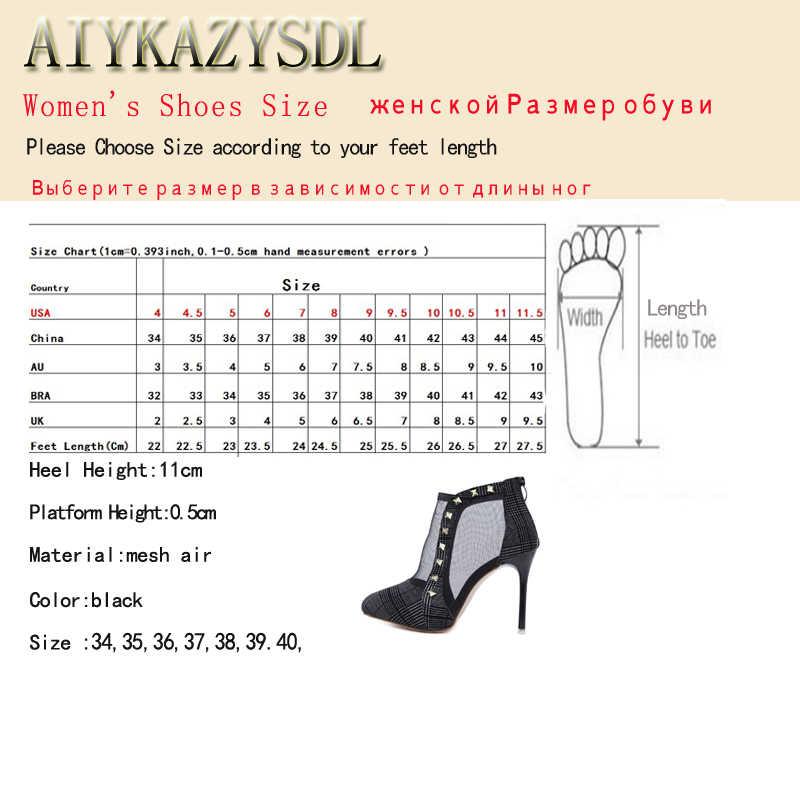 AIYKAZYSDL Sonbahar Bahar Kadın yarım çizmeler Perçin Bootie Mesh Cut Out Ayakkabı Yüksek Topuk Stiletto Klasik Ince Topuk 2018 kısa çizmeler