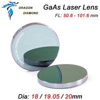GaAs Laser Focus Lens DIa.18mm 19.05mm 20mm Focal Length 50.8mm 63.5mm 101.6mm For CO2 Laser Engraving Cutter Machine