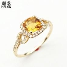 0883c7663c05 Sólido 10 K oro amarillo de compromiso boda 6x6mm Cojines corte 100%  genuino citrino diamantes naturales anillo de ajuste mujere.