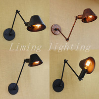 Retro Loft Matte Iron Shade Adjustable Swing Arm Reading Wall Lamps Lights Edison E27 / E26 Sconce For Workroom Bedroom Bar Cafe