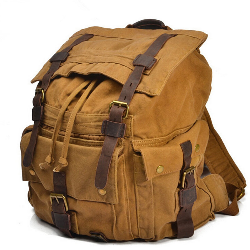 Vintage Military Canvas travel Backpacks Men & Women School Backpacks Men Laptop Travel Canvas Backpack Large Capacity Bag new vintage backpack canvas men shoulder bags leisure travel school bag unisex laptop backpacks men backpack mochilas armygreen