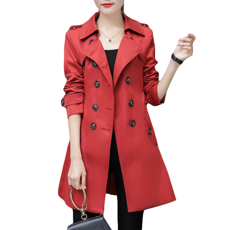 Trench   Coat for Women 2018 Casual 6 Colors Turn-down Collar Slim Fit Double Breasted Spring Autumn Office Ladies Coat Plus Size