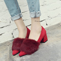 2016 Autumn Women's Pumps Shoes Woman Pointed Shallow Mouth Square Heels High Heels Single Shoes Real Rabbit Fur Women's Shoes