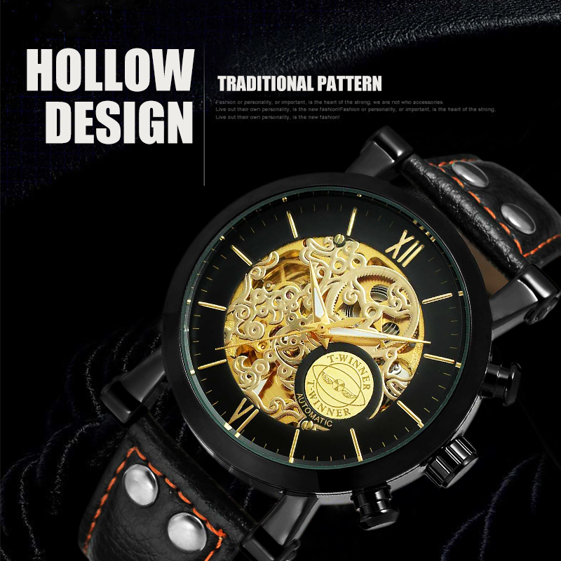 Winner Mechanical Watch Luxury brand Automatic Men Waterproof Sport Wristwatch Leather Strap Hodinky Saat Relogio with gift box winner women luxury brand skeleton genuine leather strap ladies watch automatic mechanical wristwatches gift box relogio releges