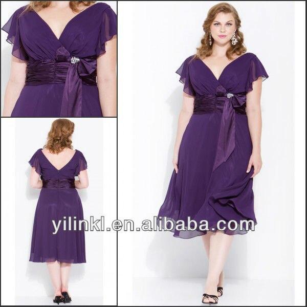 2013 plus size v neck short sleeve knee length purple for Purple dresses for weddings knee length