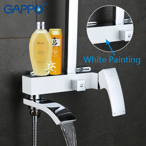 Image 5 - GAPPO Sanitary Ware Suite chrome and white bath faucet mixers shower set with basin faucet brass bathroom shower set torneira