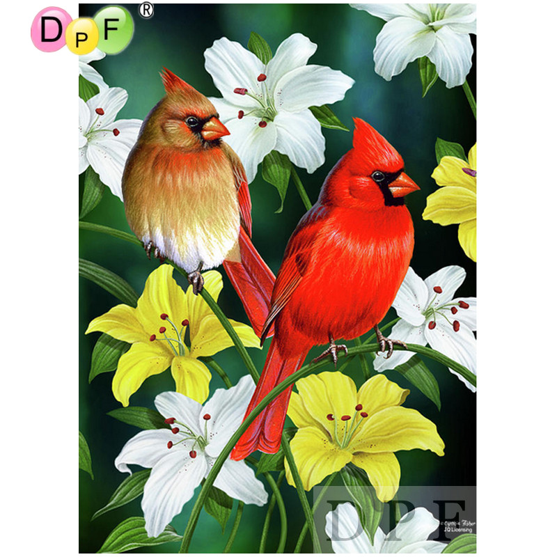 DPF Diamond Mosaic Embroidery Birds and lilies Diamond Painting Cross Stitch Square full dill Sets Unfinished Decor picture