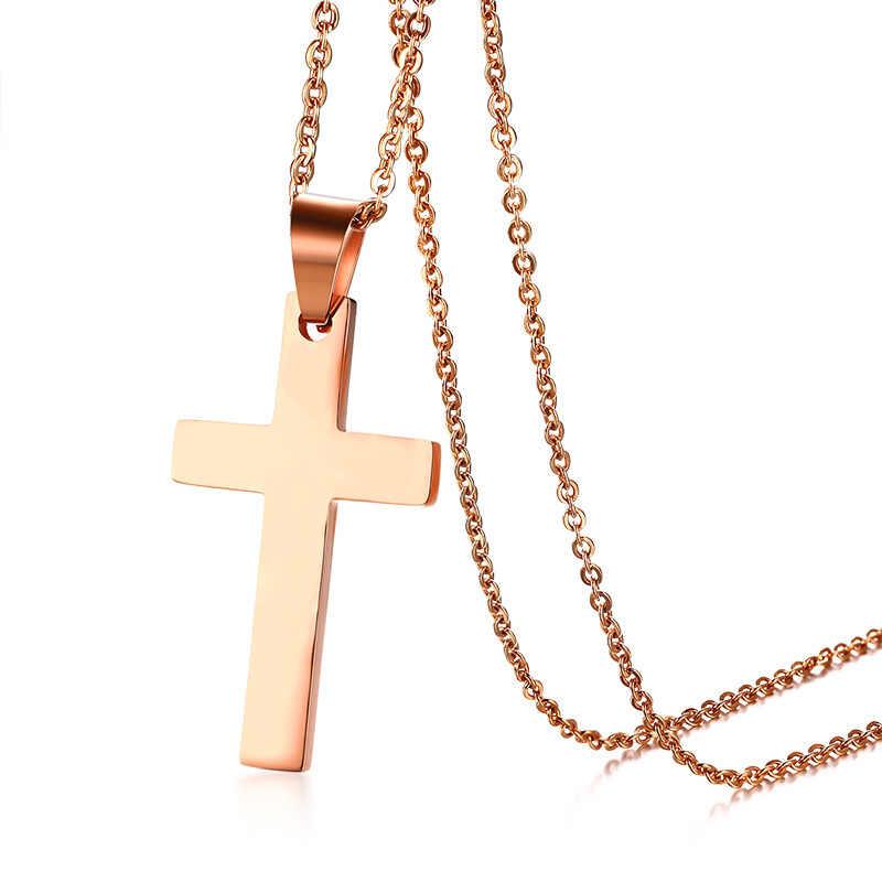 男性のステンレス鋼クリスチャンメンズ宗教十字架ゴールドトーン