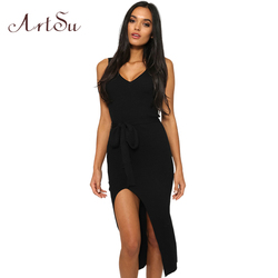 ArtSu Causal Summer Women Solid Dresses Sleeveless Skinny Brand Chic Elegant Sexy Split Long Dress Belt Vestidos ASDR30718 1