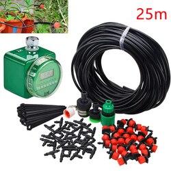 Urządzenie do automatycznego nawadniania regulator czasu z czujnik deszczu + 25m mikro system nawadniania kropelkowego roślina Self Garden zestaw węży Dripper
