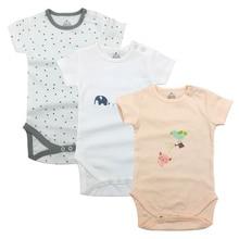 3 pcs/LOT Tender Babies Baby bodysuit color print baby boy girl short sleeve suit clothes summer