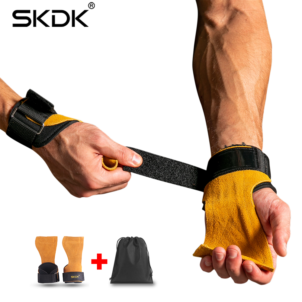 SKDK 1Pair Cowhide Gym Gloves Grips Anti-Skid Weight Lifting Deadlifts Workout Crossfit Fitness Gloves Palm Protection