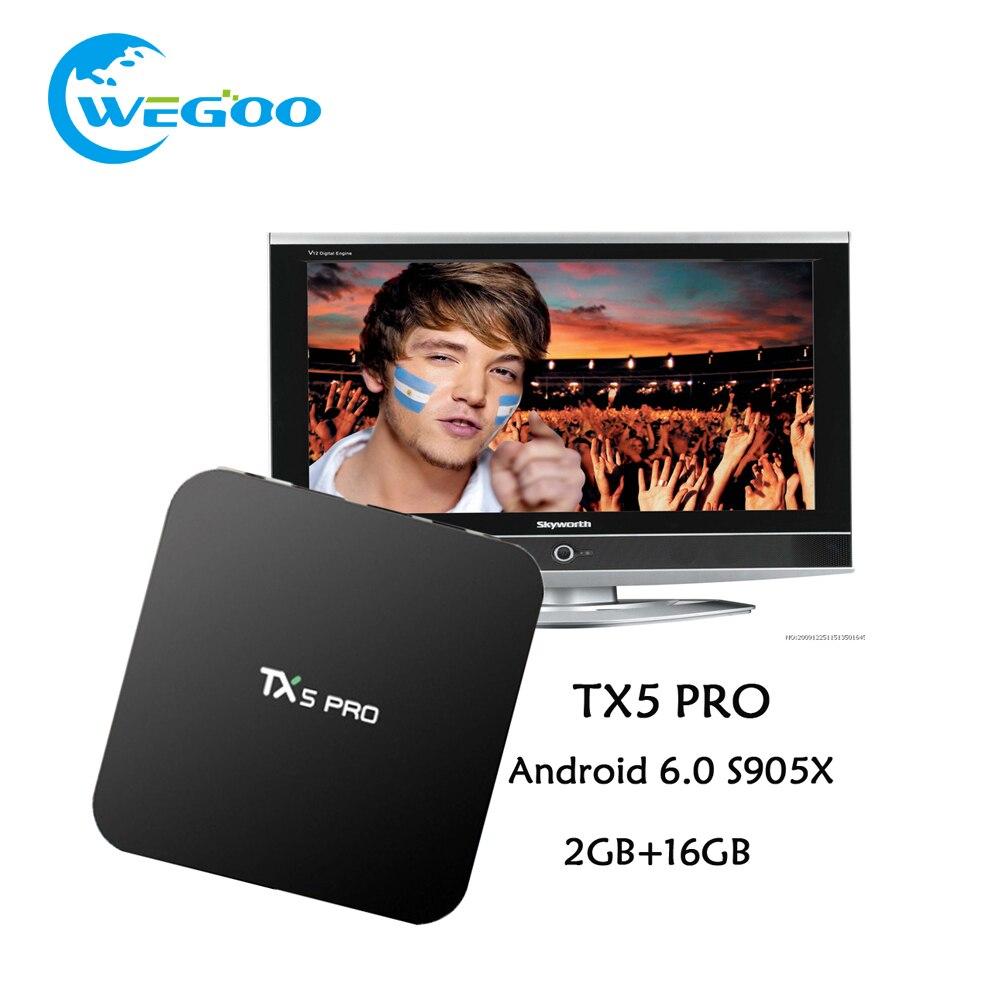 Prix pour Chaude TX5 Pro Android 6.0 TV BOX 2G/16G Amlogic S905X Media Player HD 4 K Entièrement TV 16.1 Double Wifi Quad core Set Top TV boîte