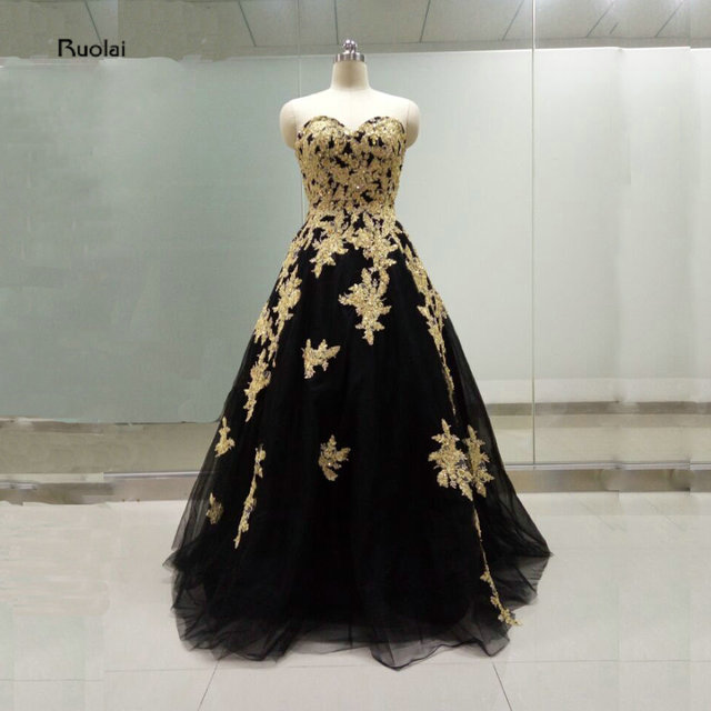 5d97f80b868e Real Sample Pictures 2016 New Black Tulle Gold Lace Applique Beading  Sweetheart Ball Gown Formal Prom Dresses High Quality