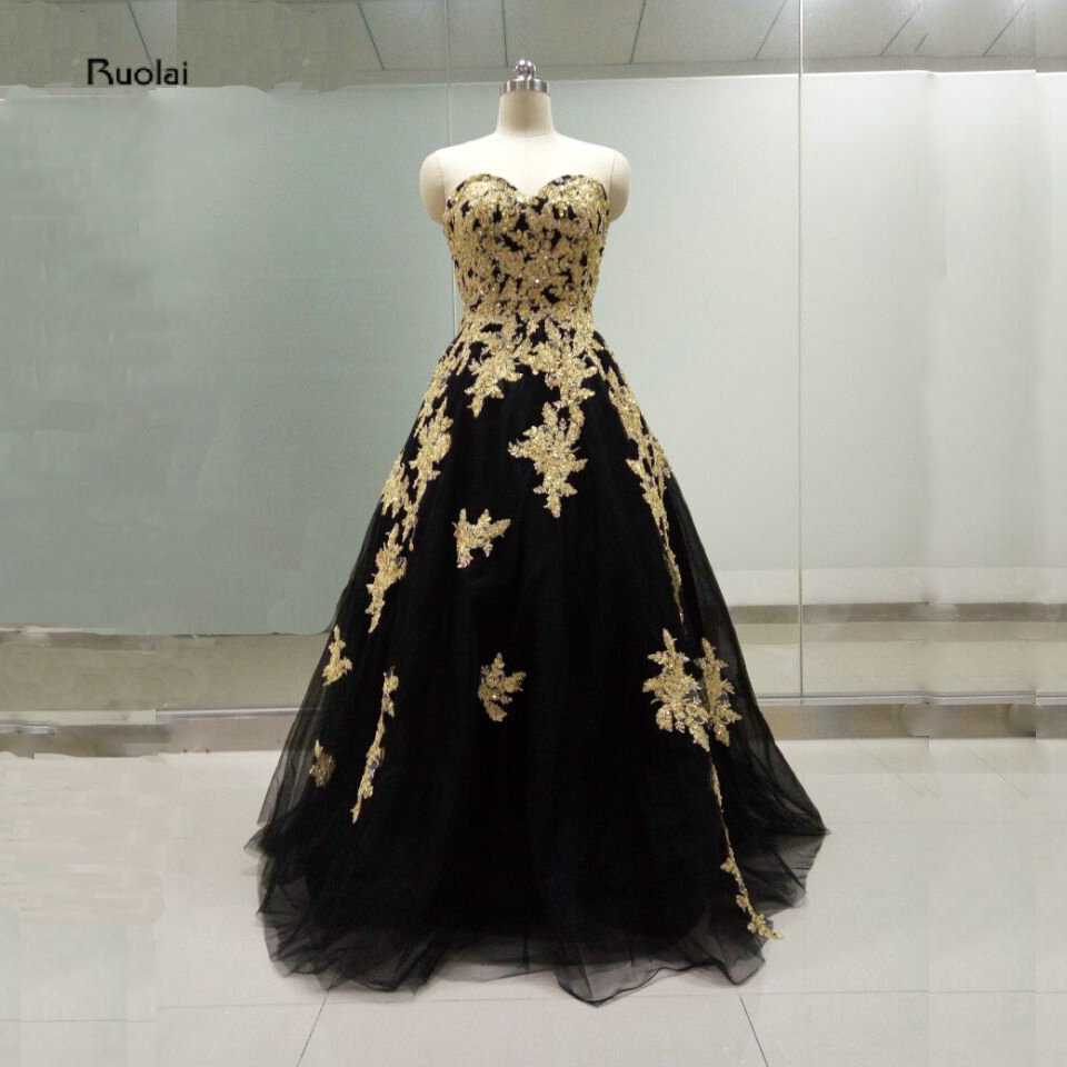 Real Sample Pictures 2016 New Black Tulle Gold Lace Applique Beading Sweetheart Ball Gown Formal   Prom     Dresses   High Quality