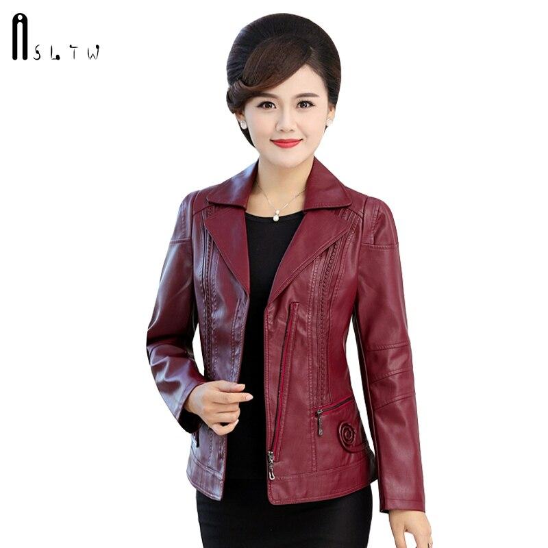 ASLTW XL 6XL Pu Leather Jacket Women New Fashion Autumn Turn Down Collar Zipper Coat Women