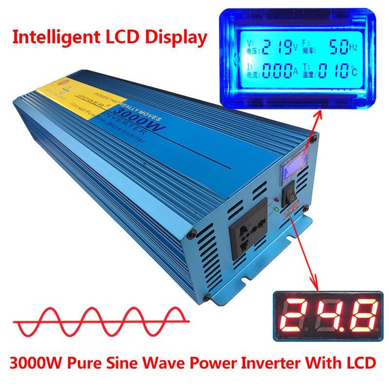 Цифровой Дисплей 3000 Вт 6000 Вт пик Чистая синусоида Мощность инвертор DC 12 В к AC 220 В 230 В 240 В конвертер солнечные Мощность