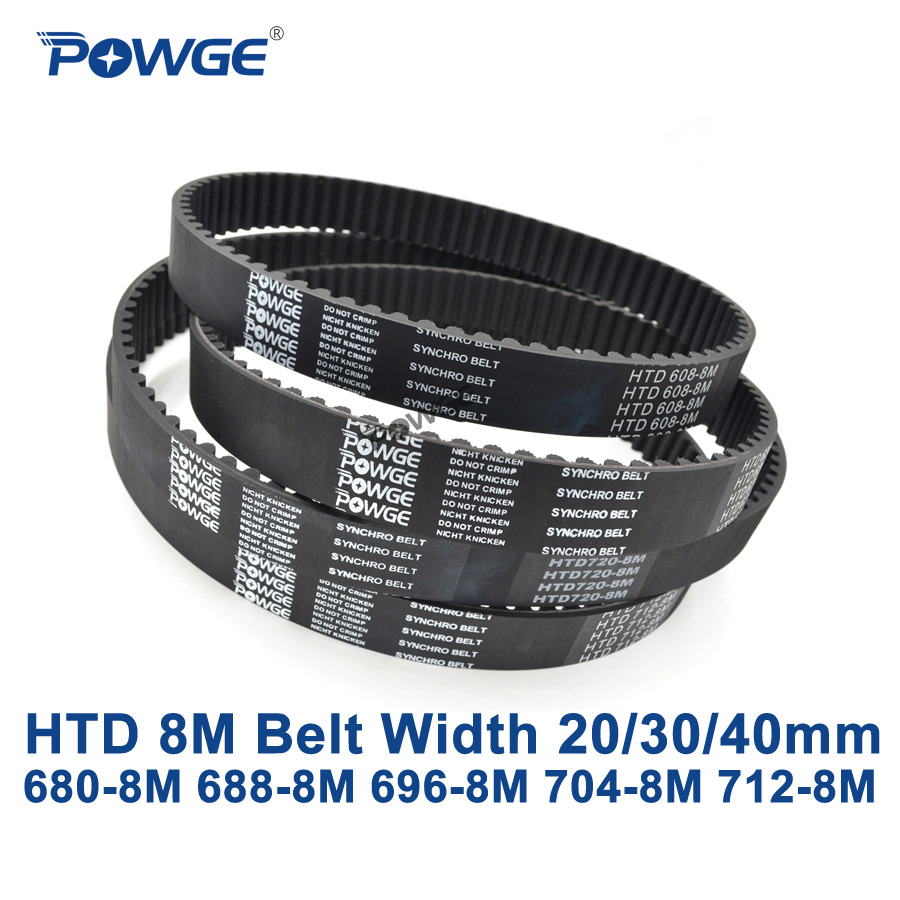 POWGE HTD 8M synchronous belt C=680/688/696/704/712 width 20/30/40mm Teeth 85 86 87 88 89 HTD8M Timing Belt 680-8M 696-8M 712-8M