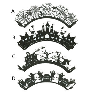 Image 5 - 12PCS/Set Halloween Pumpkin cast lPattern Lace Laser Cut Cupcake Wrapper Liner Baking Cup Muffin For Wedding Birthday Party