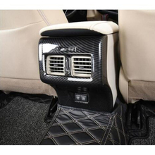 For Toyota Camry 2018 ABS Carbon fibre Car Back Rear Air Condition outlet Vent frame Cover Trim sticker Car accessories styling decorative carbon mesh sticker for car air condition vent black grey 2 pcs