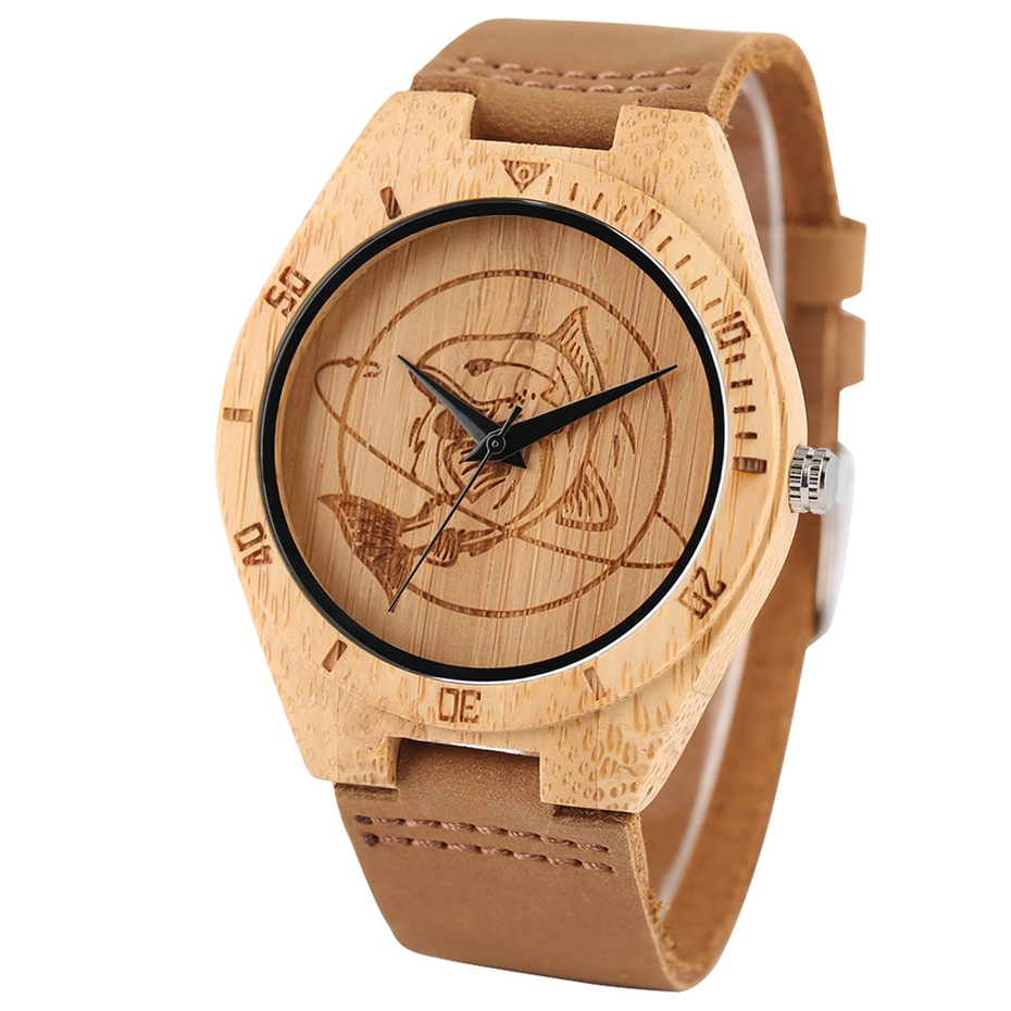 Natural Mens Wooden Wrist Watch Casual Dress Style Engraved Fish Handicraft Dial Light Bamboo Wood Relogio Gifts Genuine Leather 2017 (2)
