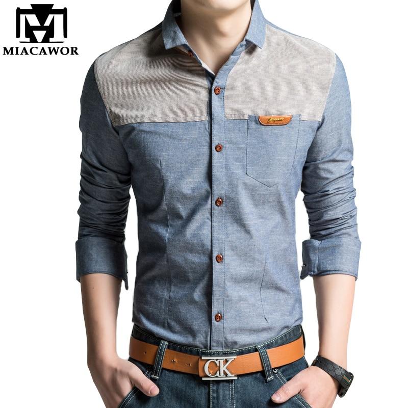 MIACAWOR Original Design Men Shirt High Quality Casual Shirts Slim Fit Long Sleeve Camisa Masculina Camisa Social Plus Size C215