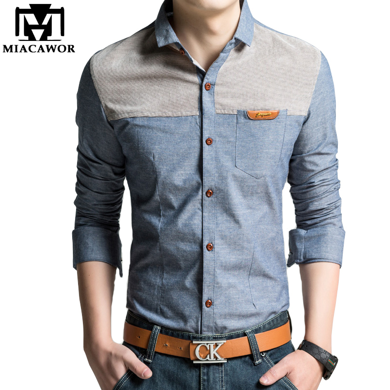 MIACAWOR Original Design Men Shirt High Quality Casual Shirts Slim Fit Long Sleeve Camisa Masculina Camisa Social Plus Size C215