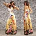 2017 nueva sexy diamond beach long dress oscilación grande de la gasa halter backless dress v cuello de la impresión floral vestidos largos hasta el piso Vestido