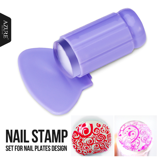 New clear jelly silicone nail stamper scraper set nail art stamp new clear jelly silicone nail stamper scraper set nail art stamp for nail plates stamping tools prinsesfo Images