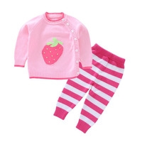 Stripe Baby Girls Clothing Set Spring Autumn Thin Cute Strawberry Sweater Suit Newborn Infant Girl Button Sweaters 9 24Months